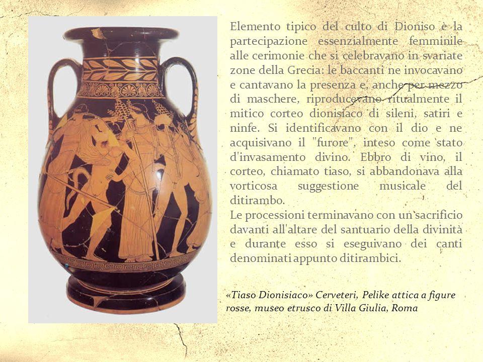 «Dioniso con corno potorio e tirso» Interno di Kylix attica a figure rosse, museo etrusco di Villa Giulia, Cerveteri Roma Il Dioniso originario, legat