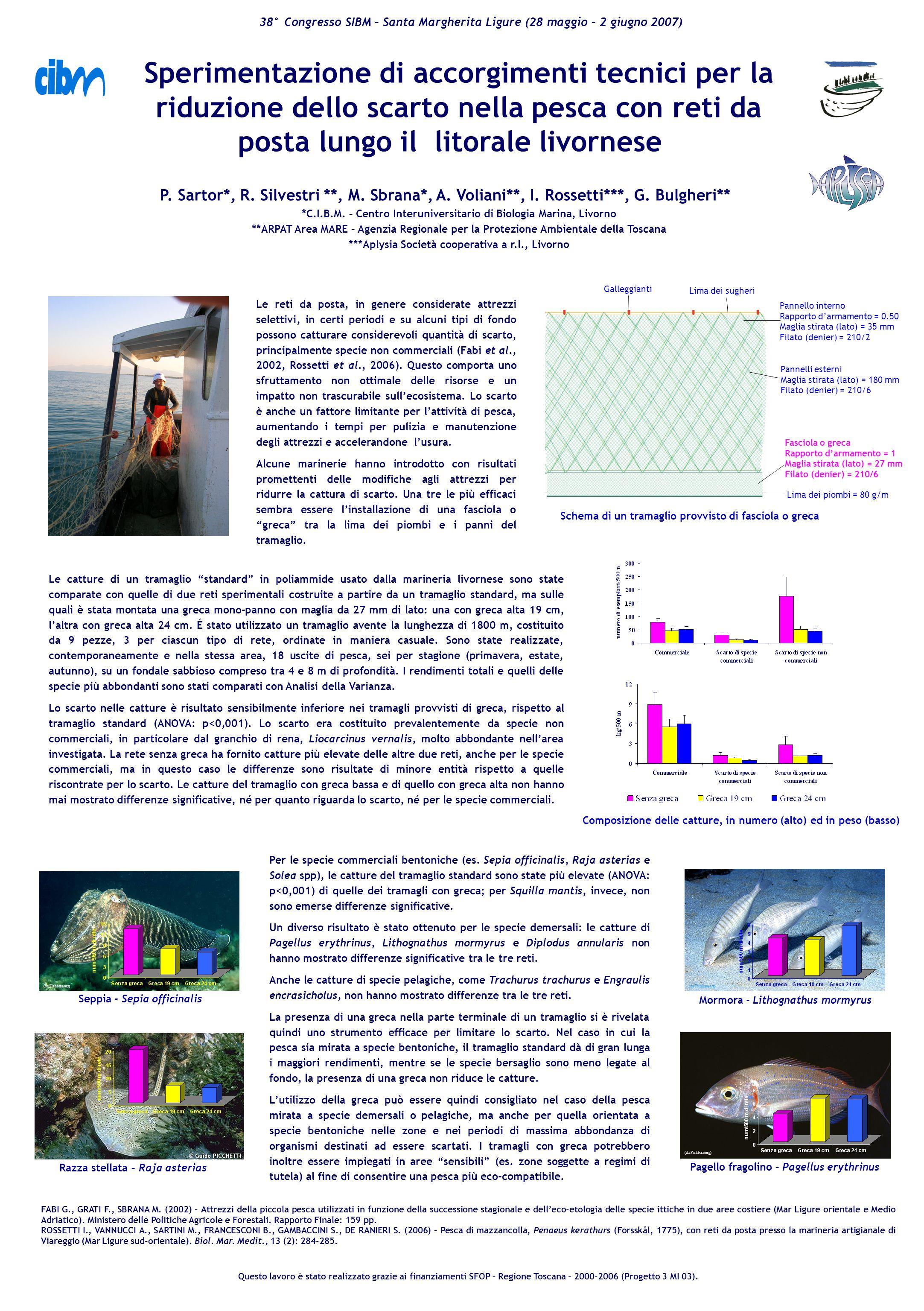 Sperimentazione di accorgimenti tecnici per la riduzione dello scarto nella pesca con reti da posta lungo il litorale livornese P.