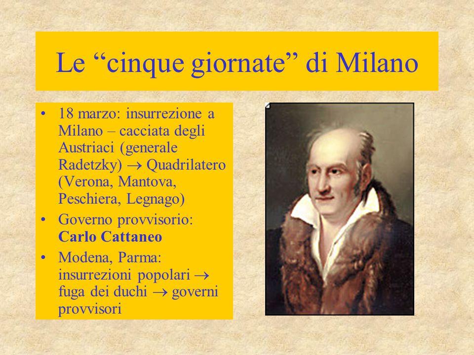 """Le """"cinque giornate"""" di Milano 18 marzo: insurrezione a Milano – cacciata degli Austriaci (generale Radetzky)  Quadrilatero (Verona, Mantova, Peschie"""