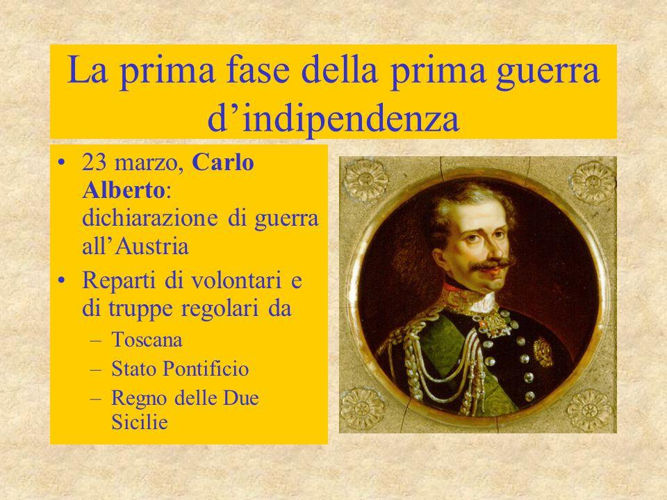 La prima fase della prima guerra d'indipendenza 23 marzo, Carlo Alberto: dichiarazione di guerra all'Austria Reparti di volontari e di truppe regolari da –Toscana –Stato Pontificio –Regno delle Due Sicilie