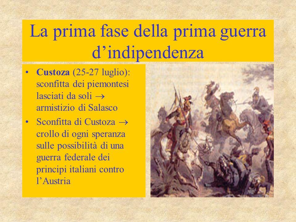 La prima fase della prima guerra d'indipendenza Custoza (25-27 luglio): sconfitta dei piemontesi lasciati da soli  armistizio di Salasco Sconfitta di Custoza  crollo di ogni speranza sulle possibilità di una guerra federale dei principi italiani contro l'Austria