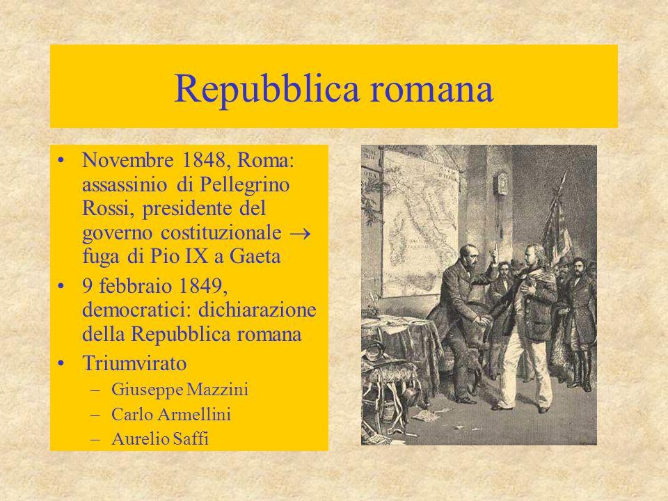 Repubblica romana Novembre 1848, Roma: assassinio di Pellegrino Rossi, presidente del governo costituzionale  fuga di Pio IX a Gaeta 9 febbraio 1849,