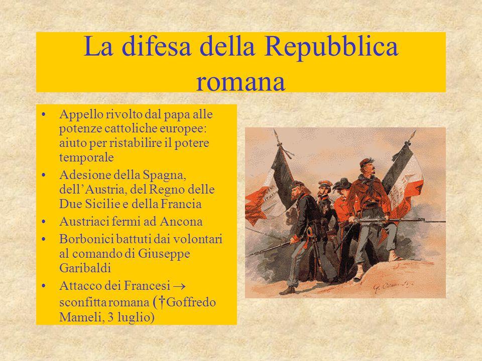 La difesa della Repubblica romana Appello rivolto dal papa alle potenze cattoliche europee: aiuto per ristabilire il potere temporale Adesione della S