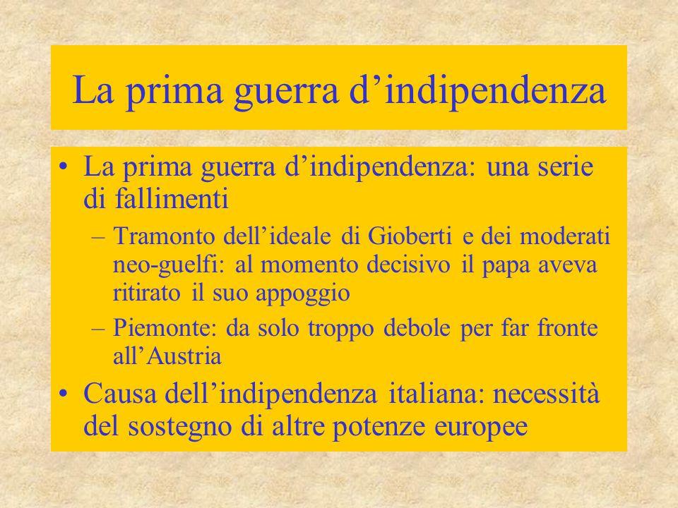 La prima guerra d'indipendenza La prima guerra d'indipendenza: una serie di fallimenti –Tramonto dell'ideale di Gioberti e dei moderati neo-guelfi: al
