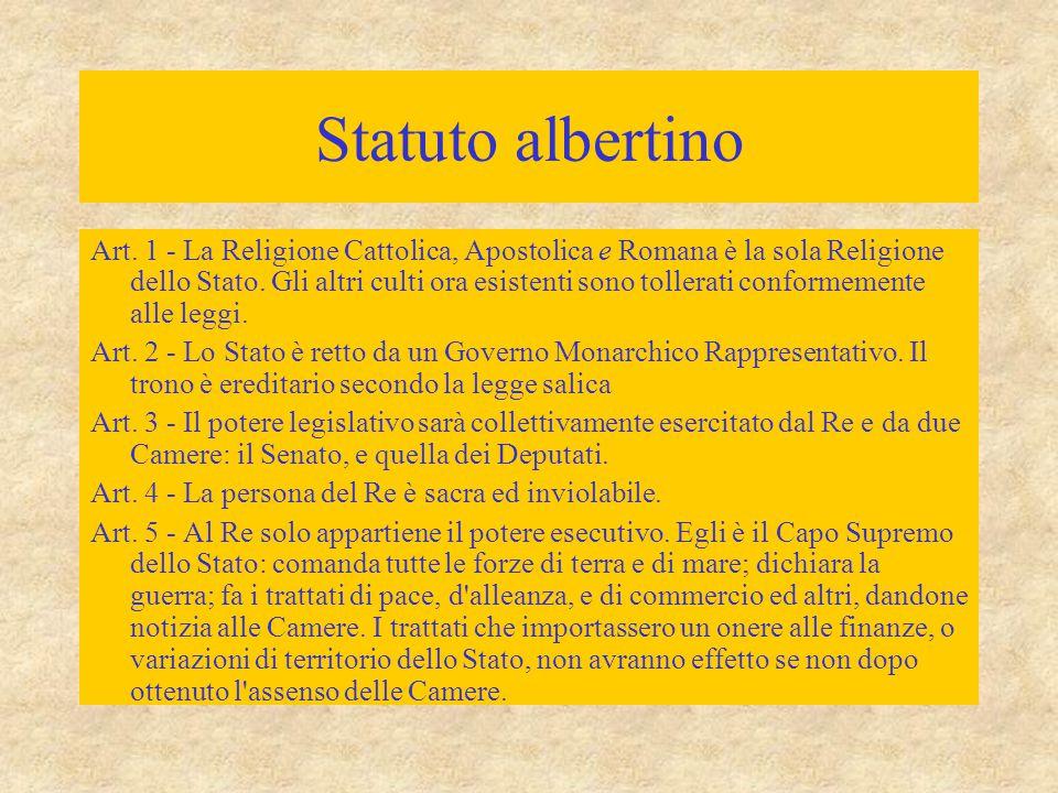 Statuto albertino Art. 1 - La Religione Cattolica, Apostolica e Romana è la sola Religione dello Stato. Gli altri culti ora esistenti sono tollerati c