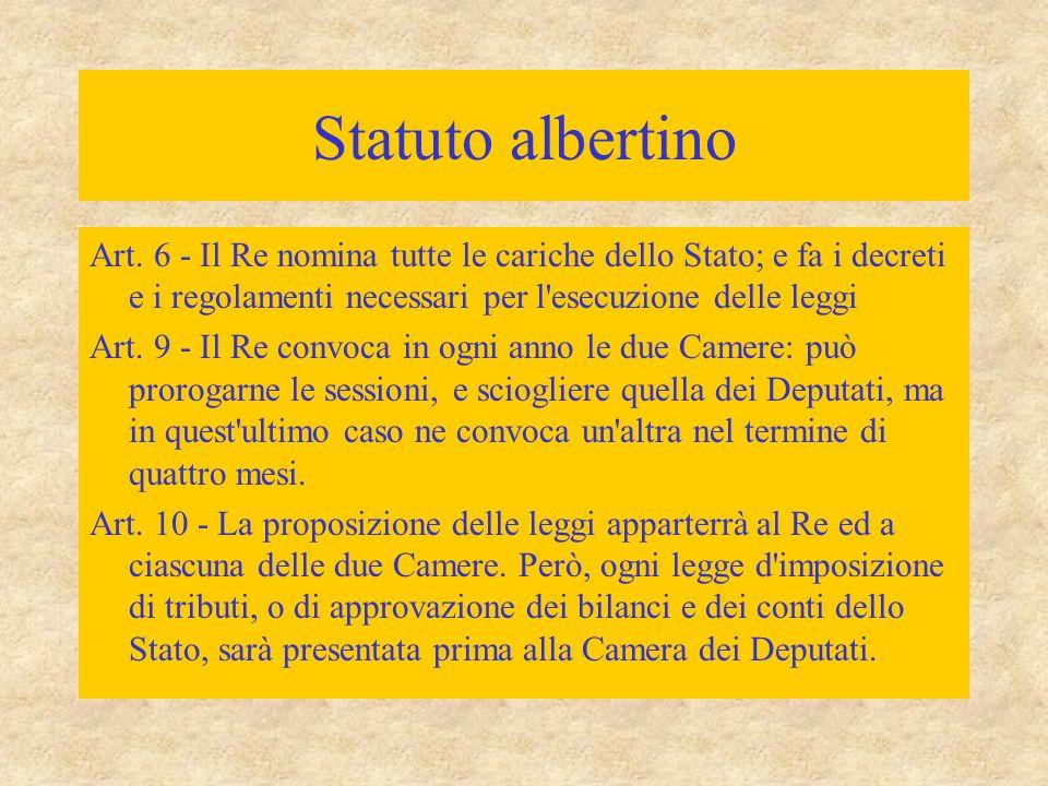 Statuto albertino Art. 6 - Il Re nomina tutte le cariche dello Stato; e fa i decreti e i regolamenti necessari per l'esecuzione delle leggi Art. 9 - I