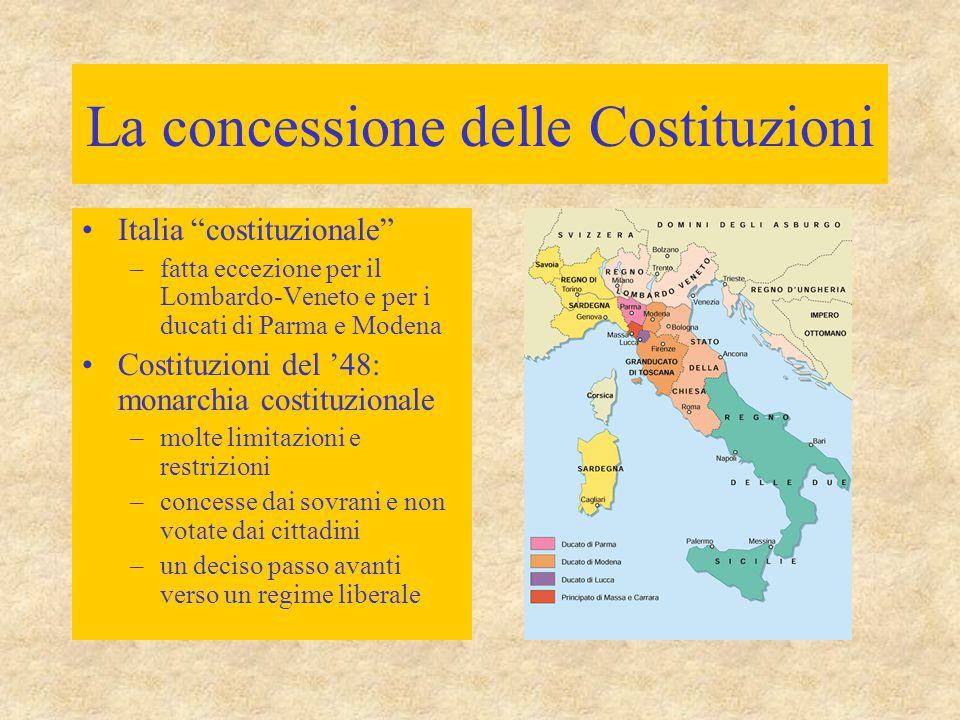 """La concessione delle Costituzioni Italia """"costituzionale"""" –fatta eccezione per il Lombardo-Veneto e per i ducati di Parma e Modena Costituzioni del '4"""