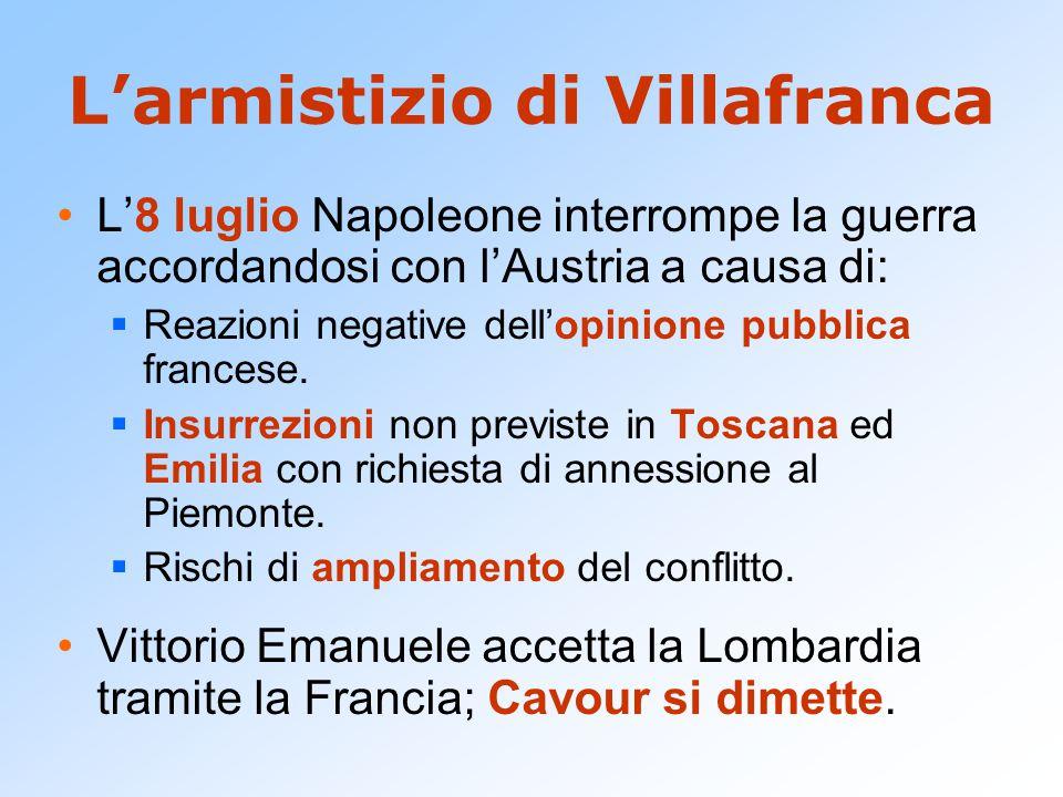 L'armistizio di Villafranca L'8 luglio Napoleone interrompe la guerra accordandosi con l'Austria a causa di:  Reazioni negative dell'opinione pubblic