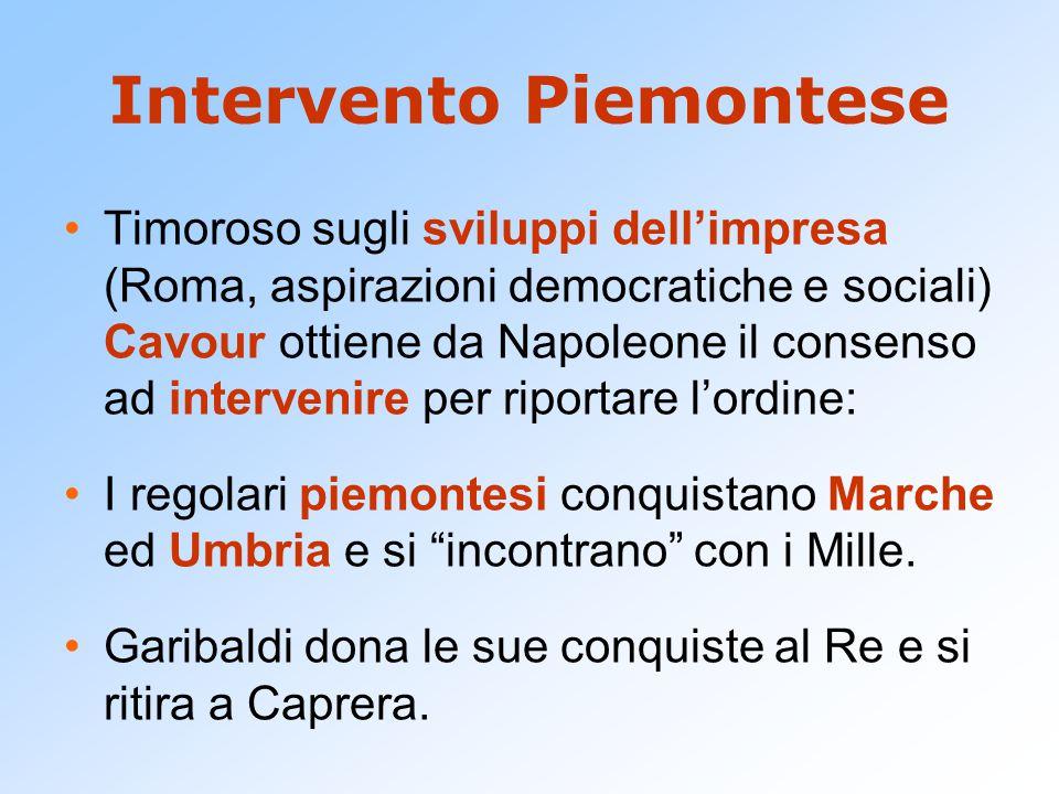 Intervento Piemontese Timoroso sugli sviluppi dell'impresa (Roma, aspirazioni democratiche e sociali) Cavour ottiene da Napoleone il consenso ad inter