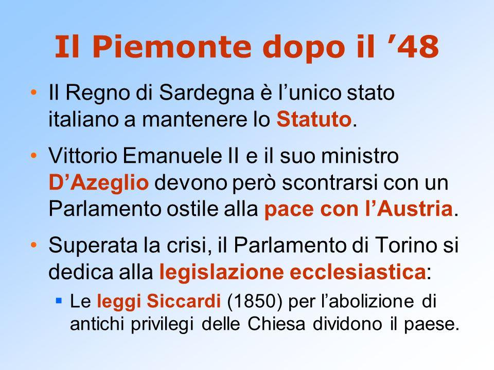 Il Piemonte dopo il '48 Il Regno di Sardegna è l'unico stato italiano a mantenere lo Statuto. Vittorio Emanuele II e il suo ministro D'Azeglio devono