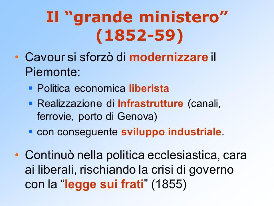"""Il """"grande ministero"""" (1852-59) Cavour si sforzò di modernizzare il Piemonte:  Politica economica liberista  Realizzazione di Infrastrutture (canali"""