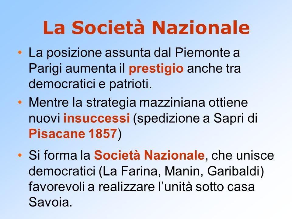 La Società Nazionale La posizione assunta dal Piemonte a Parigi aumenta il prestigio anche tra democratici e patrioti. Mentre la strategia mazziniana