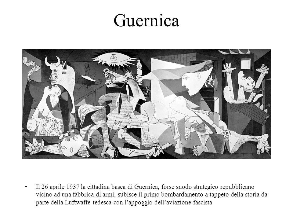 Guernica Il 26 aprile 1937 la cittadina basca di Guernica, forse snodo strategico repubblicano vicino ad una fabbrica di armi, subisce il primo bombar