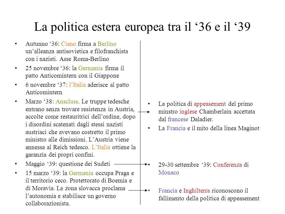 La politica estera europea tra il '36 e il '39 Autunno '36: Ciano firma a Berlino un'alleanza antisovietica e filofranchista con i nazisti. Asse Roma-