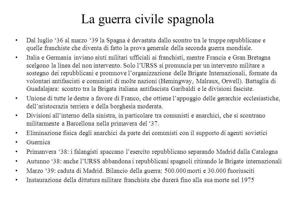 La guerra civile spagnola Dal luglio '36 al marzo '39 la Spagna è devastata dallo scontro tra le truppe repubblicane e quelle franchiste che diventa d
