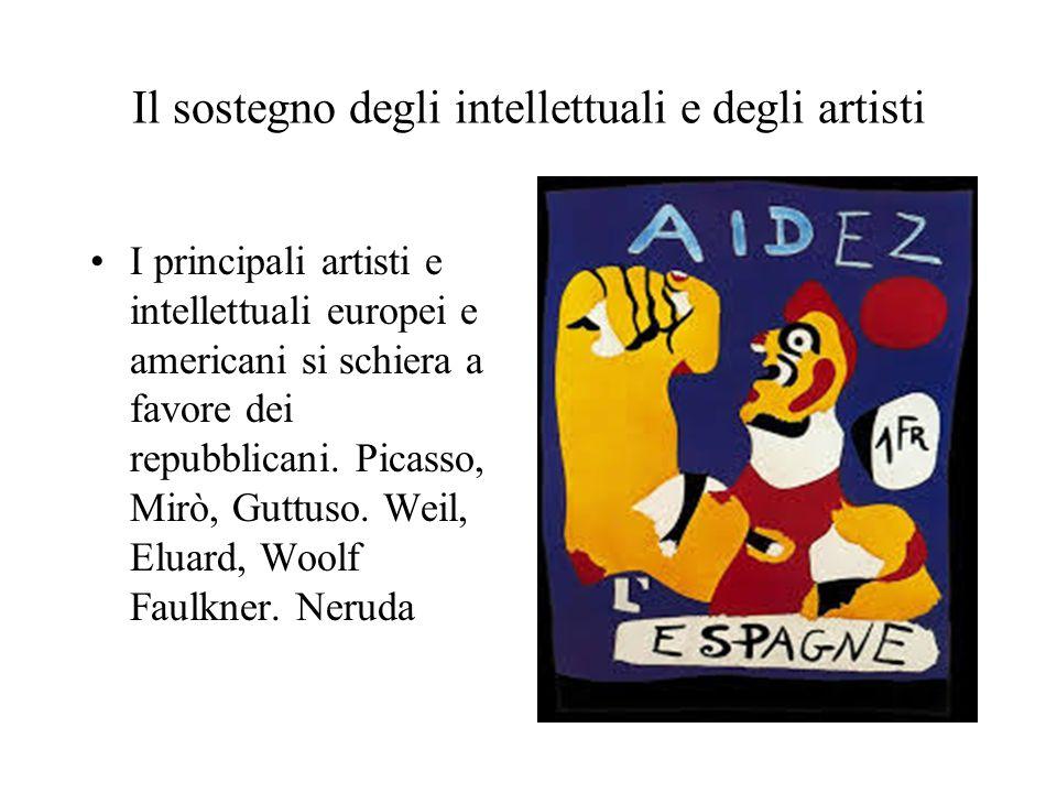 Il sostegno degli intellettuali e degli artisti I principali artisti e intellettuali europei e americani si schiera a favore dei repubblicani. Picasso