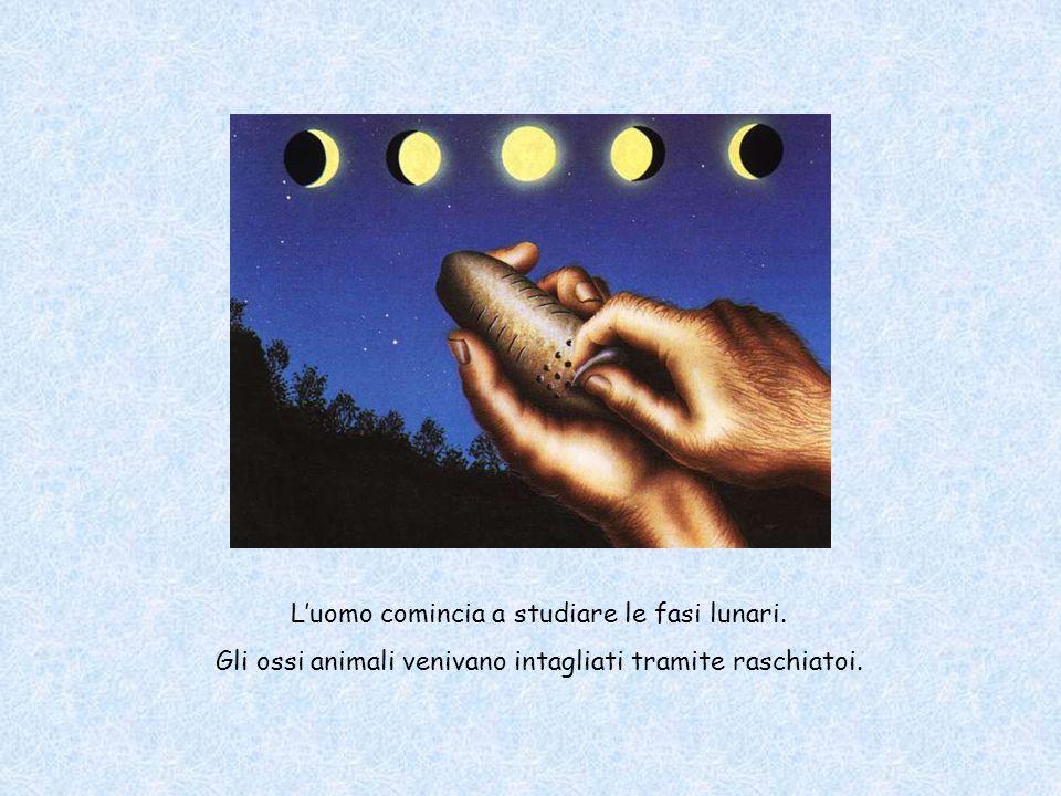 L'uomo comincia a studiare le fasi lunari. Gli ossi animali venivano intagliati tramite raschiatoi.