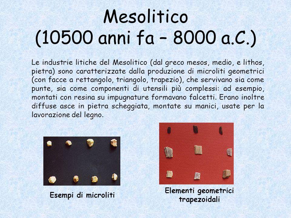 Mesolitico (10500 anni fa – 8000 a.C.) Le industrie litiche del Mesolitico (dal greco mesos, medio, e lithos, pietra) sono caratterizzate dalla produzione di microliti geometrici (con facce a rettangolo, triangolo, trapezio), che servivano sia come punte, sia come componenti di utensili più complessi: ad esempio, montati con resina su impugnature formavano falcetti.