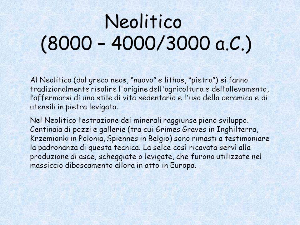 """Neolitico (8000 – 4000/3000 a.C.) Al Neolitico (dal greco neos, """"nuovo"""" e lithos, """"pietra"""") si fanno tradizionalmente risalire l'origine dell'agricolt"""