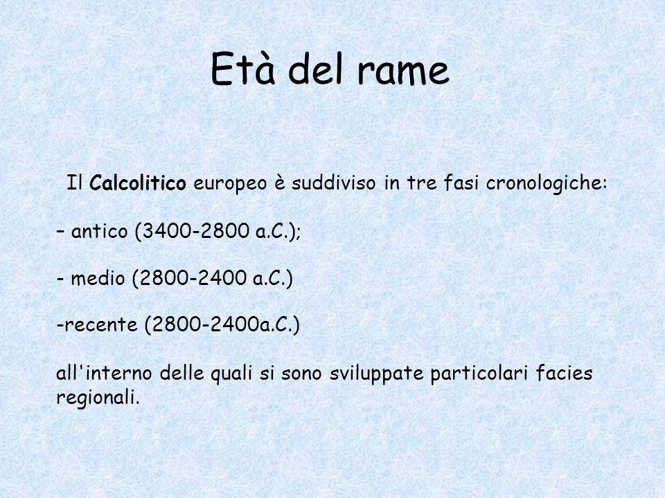 Il Calcolitico europeo è suddiviso in tre fasi cronologiche: – antico (3400-2800 a.C.); - medio (2800-2400 a.C.) -recente (2800-2400a.C.) all'interno