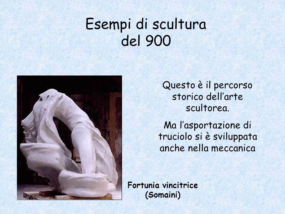 Esempi di scultura del 900 Fortunia vincitrice (Somaini) Questo è il percorso storico dell'arte scultorea. Ma l'asportazione di truciolo si è sviluppa
