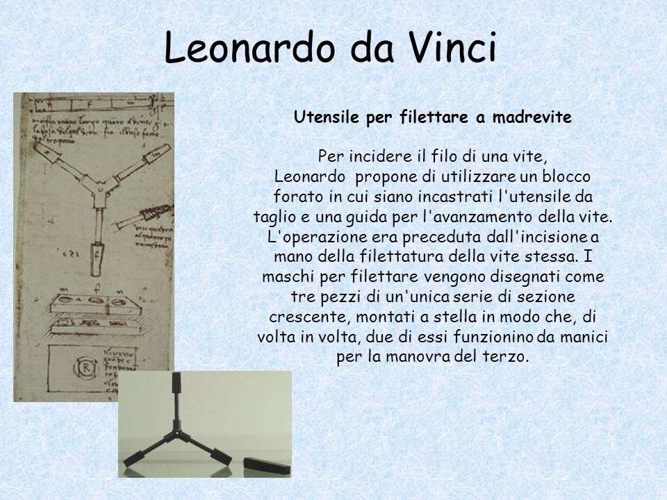 Leonardo da Vinci Utensile per filettare a madrevite Per incidere il filo di una vite, Leonardo propone di utilizzare un blocco forato in cui siano incastrati l utensile da taglio e una guida per l avanzamento della vite.