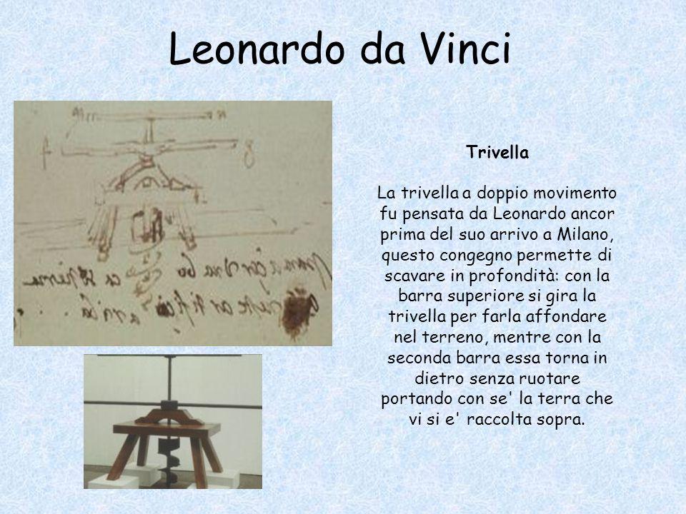 Trivella La trivella a doppio movimento fu pensata da Leonardo ancor prima del suo arrivo a Milano, questo congegno permette di scavare in profondità: