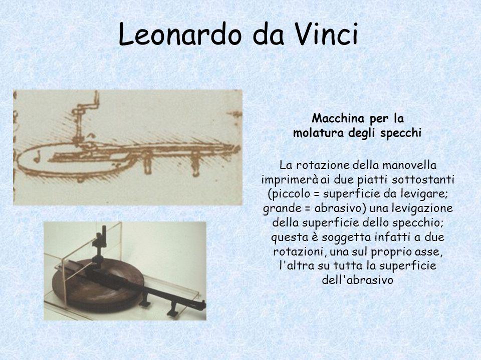 Leonardo da Vinci La rotazione della manovella imprimerà ai due piatti sottostanti (piccolo = superficie da levigare; grande = abrasivo) una levigazione della superficie dello specchio; questa è soggetta infatti a due rotazioni, una sul proprio asse, l altra su tutta la superficie dell abrasivo Macchina per la molatura degli specchi