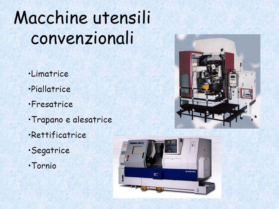 Macchine utensili convenzionali Limatrice Piallatrice Fresatrice Trapano e alesatrice Rettificatrice Segatrice Tornio