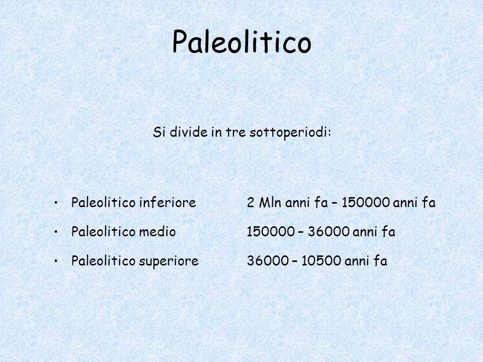 Paleolitico Si divide in tre sottoperiodi: Paleolitico inferiore2 Mln anni fa – 150000 anni fa Paleolitico medio150000 – 36000 anni fa Paleolitico superiore36000 – 10500 anni fa