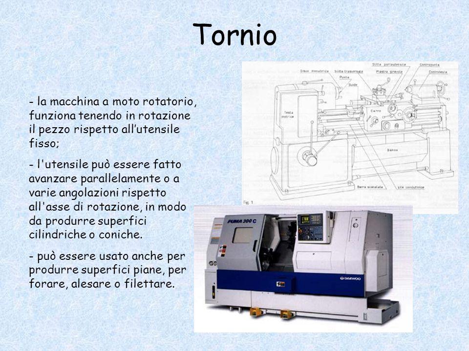 Tornio - la macchina a moto rotatorio, funziona tenendo in rotazione il pezzo rispetto all'utensile fisso; - l'utensile può essere fatto avanzare para