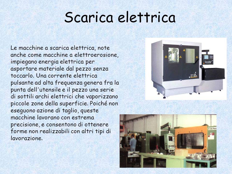 Scarica elettrica Le macchine a scarica elettrica, note anche come macchine a elettroerosione, impiegano energia elettrica per asportare materiale dal pezzo senza toccarlo.