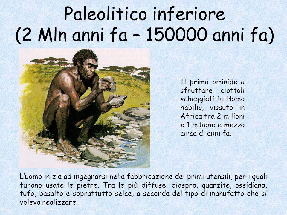 Paleolitico inferiore (2 Mln anni fa – 150000 anni fa) L'uomo inizia ad ingegnarsi nella fabbricazione dei primi utensili, per i quali furono usate le pietre.