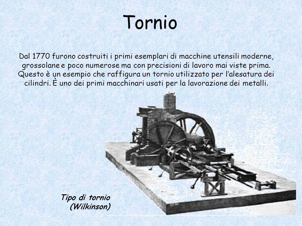Tornio Dal 1770 furono costruiti i primi esemplari di macchine utensili moderne, grossolane e poco numerose ma con precisioni di lavoro mai viste prima.