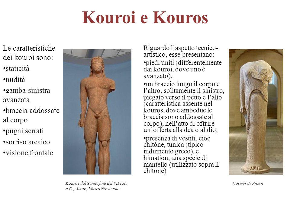 Kouroi e Kouros Le caratteristiche dei kouroi sono: staticità nudità gamba sinistra avanzata braccia addossate al corpo pugni serrati sorriso arcaico