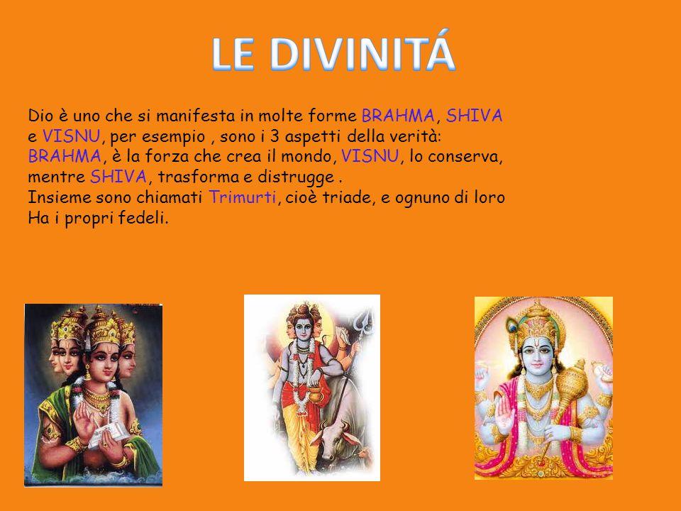 Dio è uno che si manifesta in molte forme BRAHMA, SHIVA e VISNU, per esempio, sono i 3 aspetti della verità: BRAHMA, è la forza che crea il mondo, VIS
