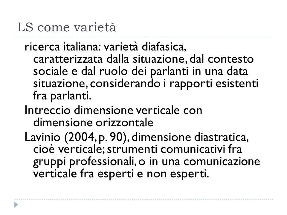 LS come varietà ricerca italiana: varietà diafasica, caratterizzata dalla situazione, dal contesto sociale e dal ruolo dei parlanti in una data situaz