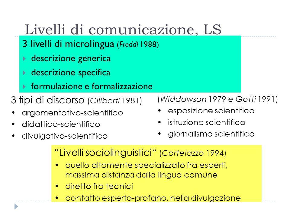 """Livelli di comunicazione, LS 3 livelli di microlingua (Freddi 1988)  descrizione generica  descrizione specifica  formulazione e formalizzazione """"L"""