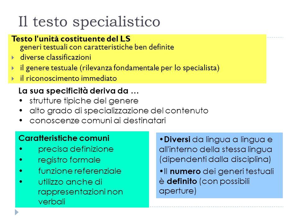 Il testo specialistico Testo l'unità costituente del LS generi testuali con caratteristiche ben definite  diverse classificazioni  il genere testual