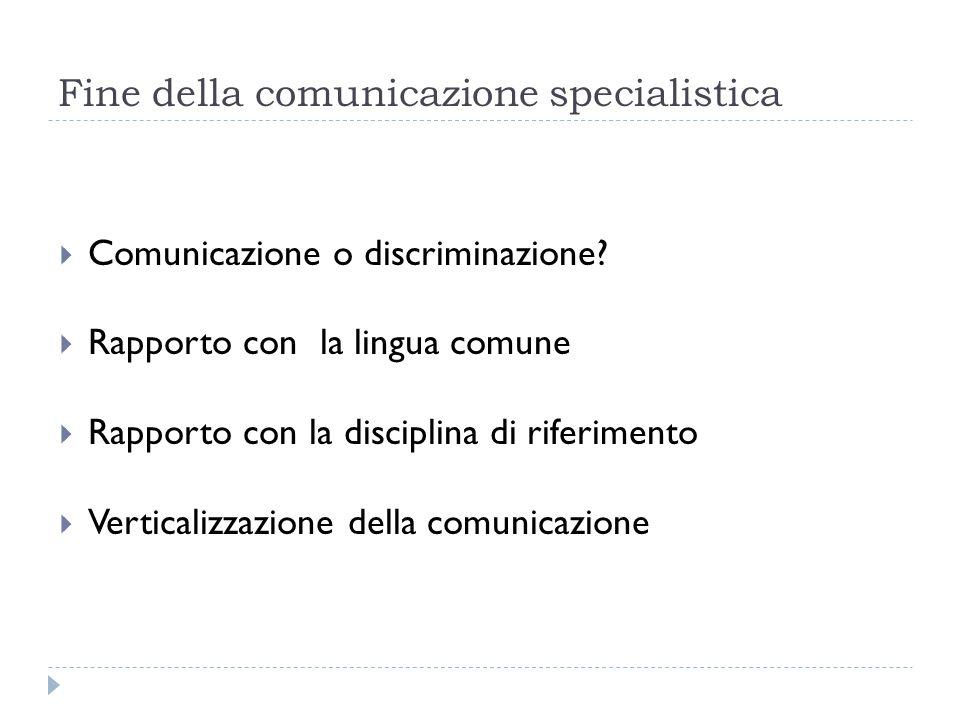 Fine della comunicazione specialistica  Comunicazione o discriminazione?  Rapporto con la lingua comune  Rapporto con la disciplina di riferimento