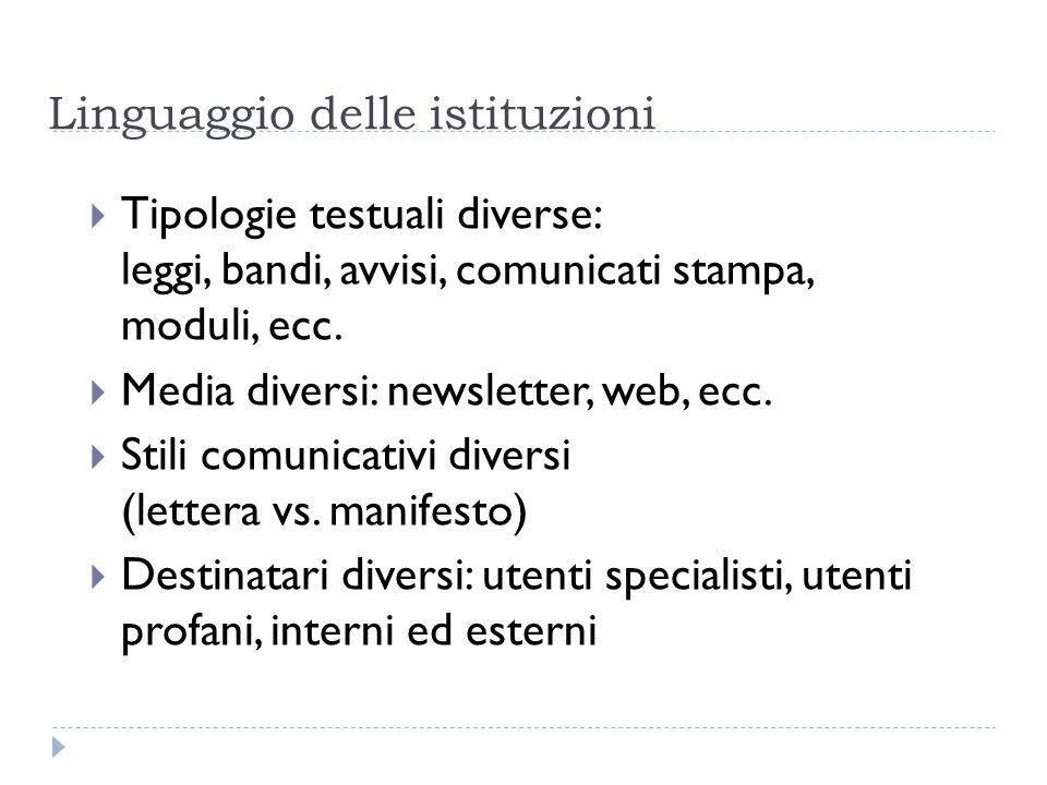 Linguaggio delle istituzioni  Tipologie testuali diverse: leggi, bandi, avvisi, comunicati stampa, moduli, ecc.  Media diversi: newsletter, web, ecc