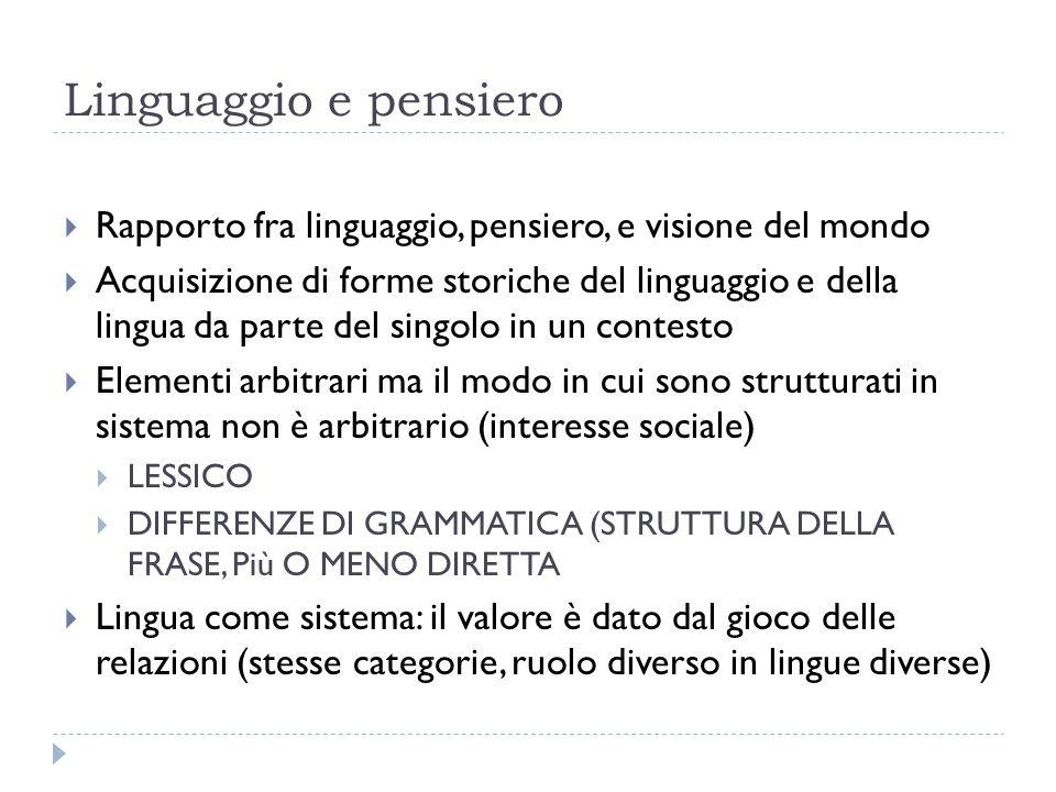 Linguaggio e pensiero  Rapporto fra linguaggio, pensiero, e visione del mondo  Acquisizione di forme storiche del linguaggio e della lingua da parte