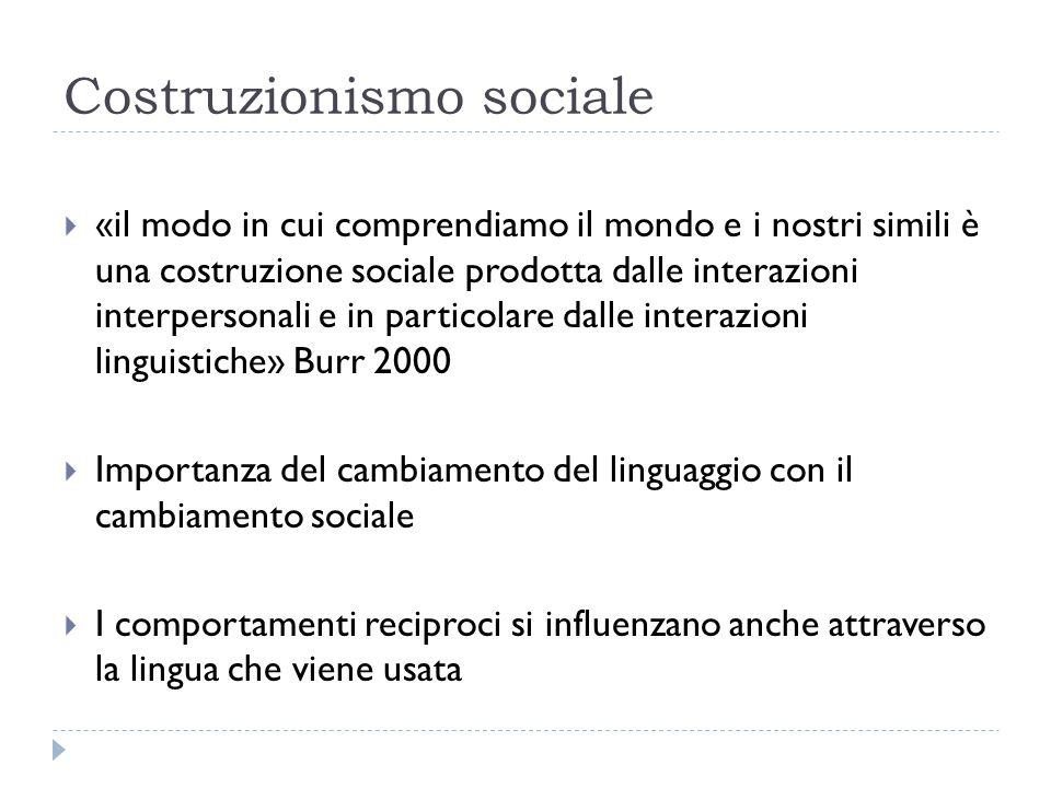 Costruzionismo sociale  «il modo in cui comprendiamo il mondo e i nostri simili è una costruzione sociale prodotta dalle interazioni interpersonali e
