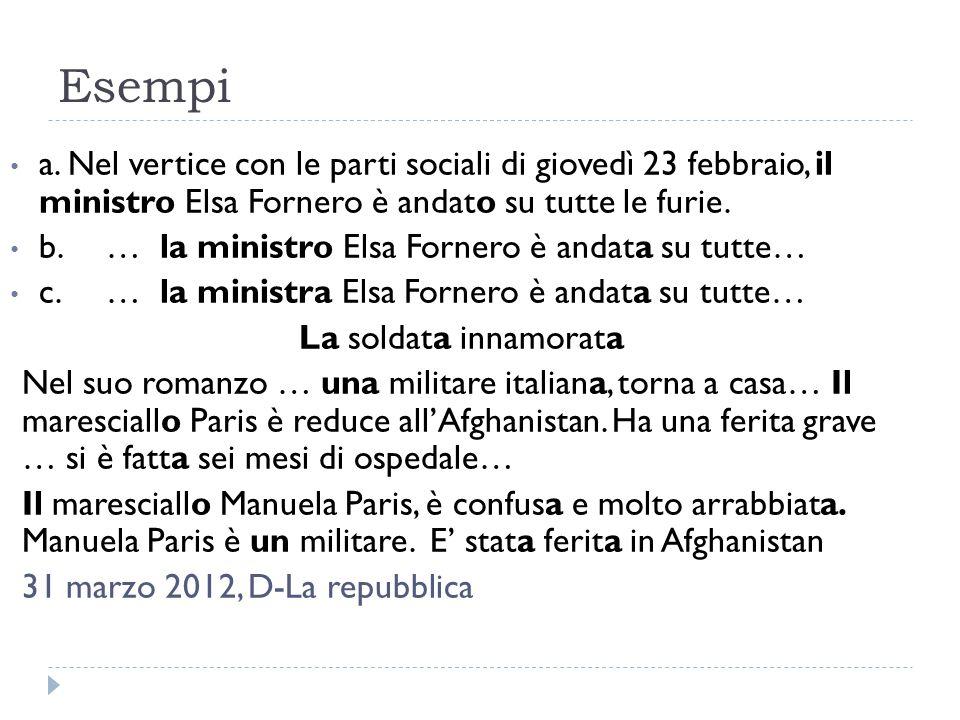 Esempi a. Nel vertice con le parti sociali di giovedì 23 febbraio, il ministro Elsa Fornero è andato su tutte le furie. b.… la ministro Elsa Fornero è