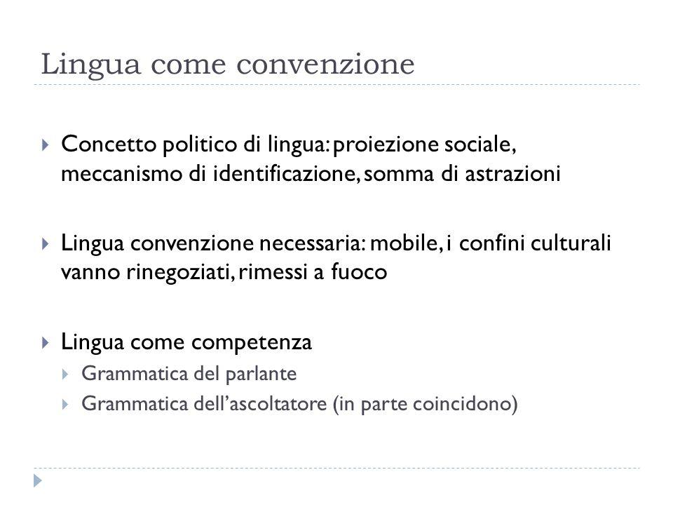 Lingua come convenzione  Concetto politico di lingua: proiezione sociale, meccanismo di identificazione, somma di astrazioni  Lingua convenzione nec
