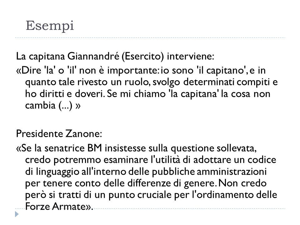 Esempi La capitana Giannandré (Esercito) interviene: «Dire 'la' o 'il' non è importante: io sono 'il capitano', e in quanto tale rivesto un ruolo, svo