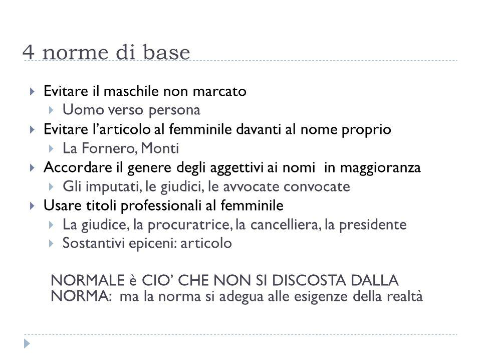 4 norme di base  Evitare il maschile non marcato  Uomo verso persona  Evitare l'articolo al femminile davanti al nome proprio  La Fornero, Monti 
