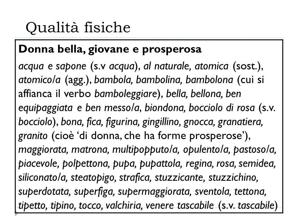Qualità fisiche Donna bella, giovane e prosperosa acqua e sapone (s.v acqua), al naturale, atomica (sost.), atomico/a (agg.), bambola, bambolina, bamb