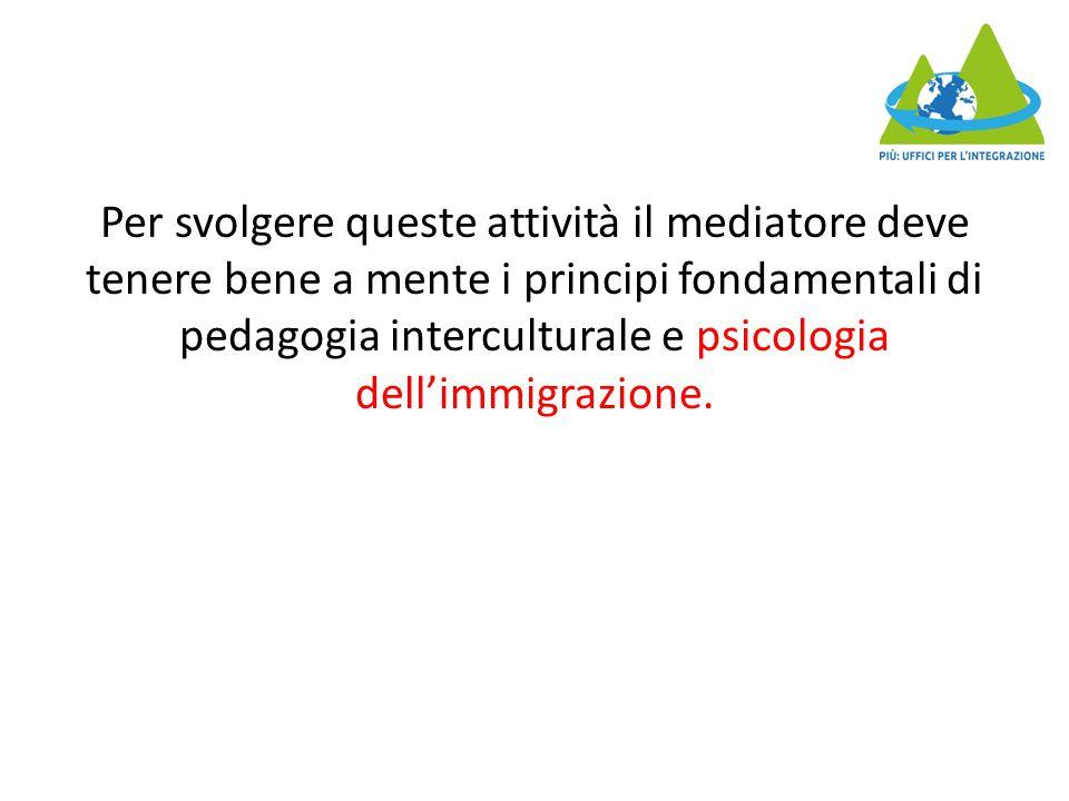 Per svolgere queste attività il mediatore deve tenere bene a mente i principi fondamentali di pedagogia interculturale e psicologia dell'immigrazione.