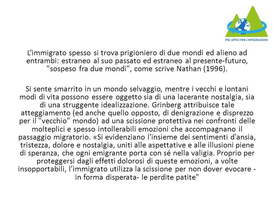 L'immigrato spesso si trova prigioniero di due mondi ed alieno ad entrambi: estraneo al suo passato ed estraneo al presente-futuro, sospeso fra due mondi , come scrive Nathan (1996).